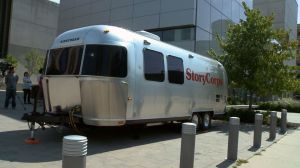 This is the actual StoryCorps trailer, it has a mad fierce sound booth tucked away in it, and you can actually get a great audio recording even while there's a festival going on in Rosa Parks Circle right outside the door.