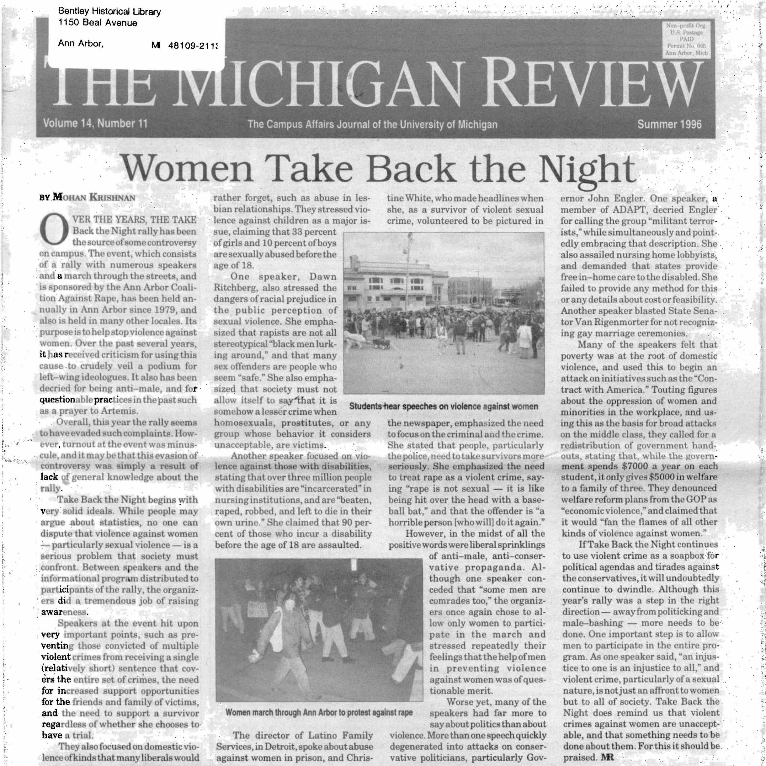 Michigan Review Summer Issue Article